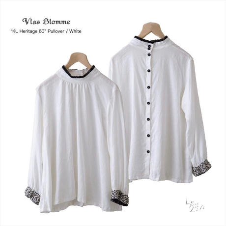 Vlas Blomme(ヴラスブラム)  KL Heritage 60 キリム刺繍プルオーバー(ホワイト)13129491