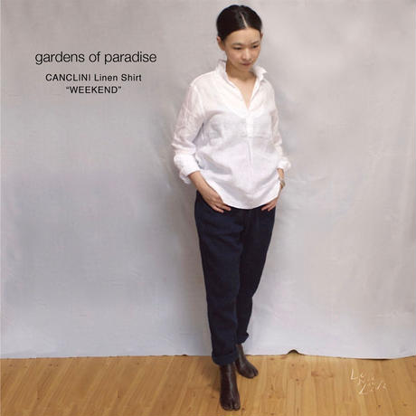 gardens of paradise(ガーデンズオブパラダイス) イタリアCANCLINI社製リネン スタンドカラーシャツ「weekend」