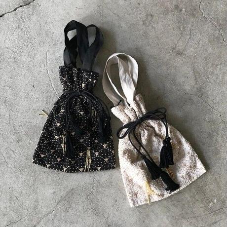BUNON(ブノン) コットンリネン 刺繍 巾着バッグ  embroidery drawstring  bag