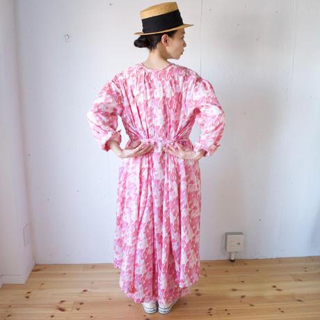 BUNON(ブノン) シルクコットン プリント ワンピース Framingo hand print dress