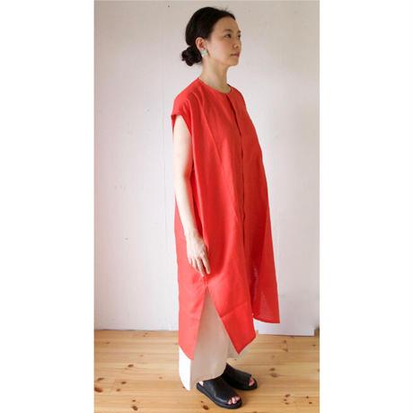 Honnete(オネット) アイリッシュリネン ノーカラーシャツドレス