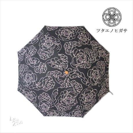 傳(ツタエノヒガサ)浜松注染 日傘/ 長傘タイプ「キツネノタスキ - オハナ黒 」