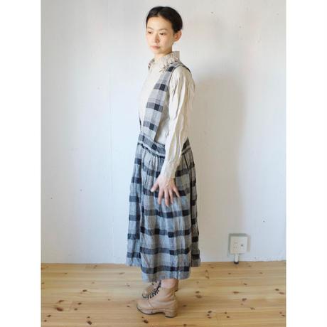 Vlas Blomme(ヴラスブラム)  Silk Linen チェック ジャンパースカート