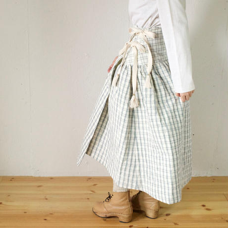 BUNON(ブノン) 先染めチェック キルティング ラップスカート