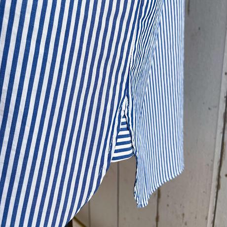 FABRIQUE 212-092 コットンブロードスタンドカラーワンピース ロンドンストライプブルー