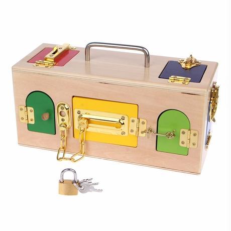 モンテッソーリ流 知育玩具    キーボックス ロックボックス 子供用 幼児用 おもちゃ箱