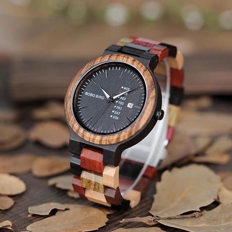 BOBO BIRD 木製腕時計 ナチュラル腕時計 ペアウォッチ カラフルリストバンド クォーツ ④