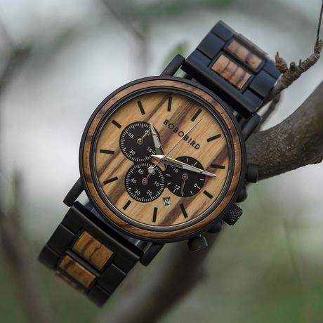 BOBO BIRD 木製腕時計 クロノグラフ クォーツ ナチュラル腕時計 ①
