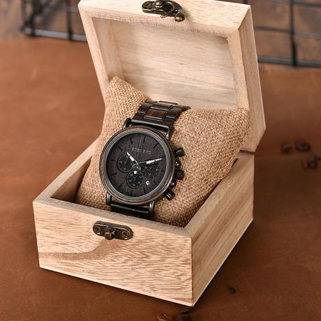 BOBO BIRD 木製腕時計 クロノグラフ クォーツ ナチュラル腕時計 ②