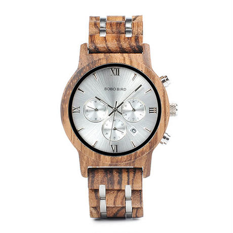 BOBO BIRD 木製腕時計 クロノグラフ クォーツ ナチュラル腕時計 ⑥