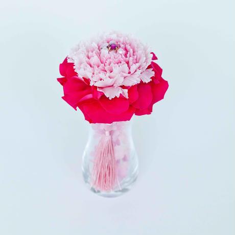 Jewel Flower プリザーブドフラワーガラス花器付き(PINK)