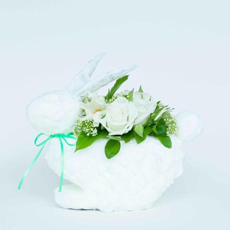 オリジナルうさぎ花器 季節の生花アレンジ付き(ホワイト)