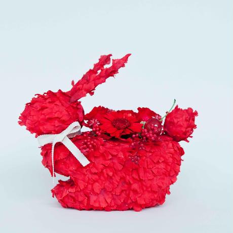 オリジナルうさぎ花器 プリザーブドフラワーのアレンジ付き(レッド)
