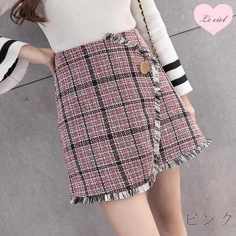 【予約】チェック柄フリンジデザインスカート