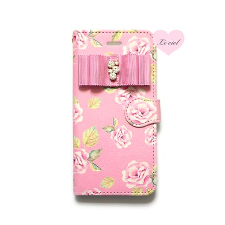 ♡名入れ対応♡手帳型ケース ピンクベースローズ×ビジューリボン