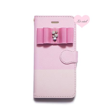 ♡名入れ対応♡手帳型ケース ピンク/ピンク バイカラー×ビジューリボン