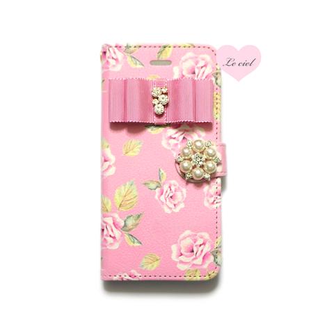 ♡名入れ対応♡手帳型ケース ピンクベースローズ×ビジューリボン×パールビジュー