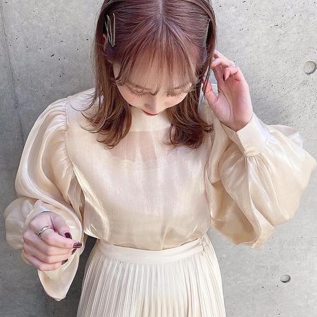 see-through blouse (beige)