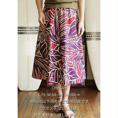 Flare Skirt パームリーフ パープル HNLS02683-81410