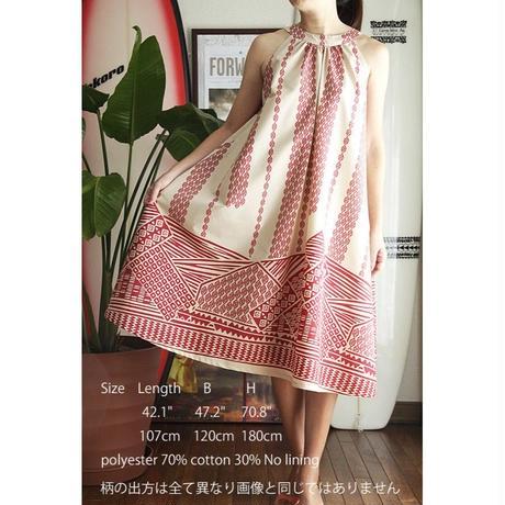 Ginger Dress ベージュ/レッド タパ柄 ジンジャードレス HNLS02458-47610