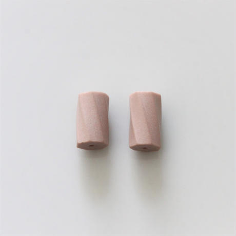 【ビーズセット】70年代チェコ 円柱スクリュービーズ2個(pink)12㎜ 436
