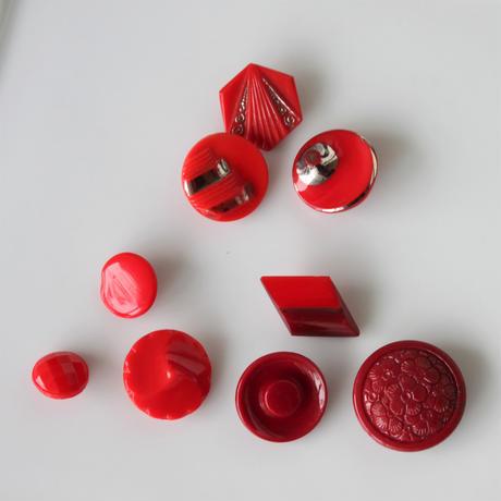 【ボタンセット】真っ赤なガラスボタン3個セット フランスヴィンテージ
