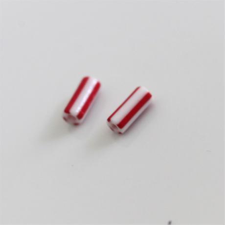 【ビーズセット】赤白ストライプチューブビーズ2本 10㎜  フランス 436