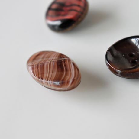 【ボタンセット】大人マーブルガラスボタン3個セット フランスヴィンテージ