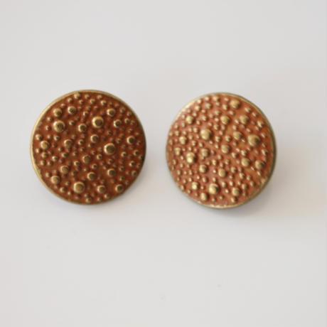 【ボタンセット】france vintage  オレンジぷつぷつメタルボタン2個セット 18㎜ 135