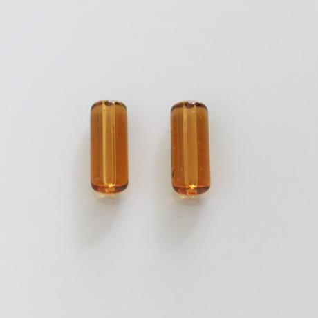 【ビーズセット】琥珀色チューブビーズ2本  15㎜  フランス 436