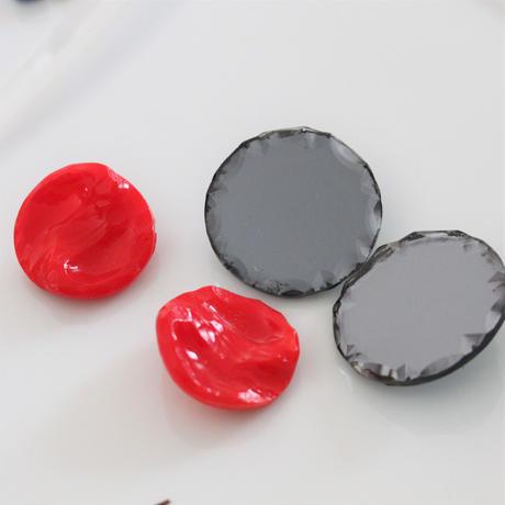 france vintage 真っ赤なガラスボタン 23㎜ 366