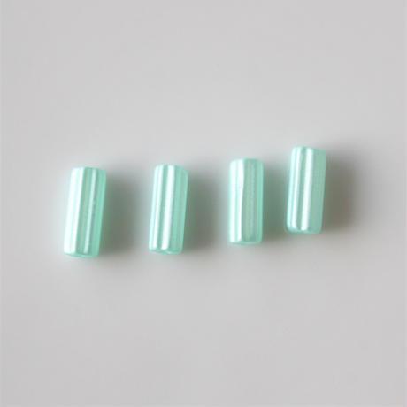 ガラスチューブビーズ4本セット metallic green フランス