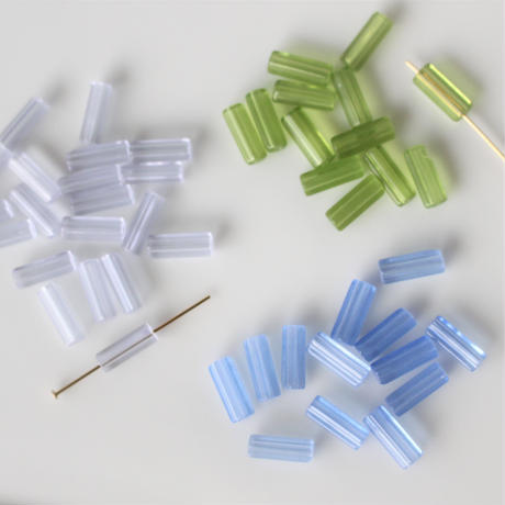 ガラスチューブビーズ4本セット  clear lavender フランス 424