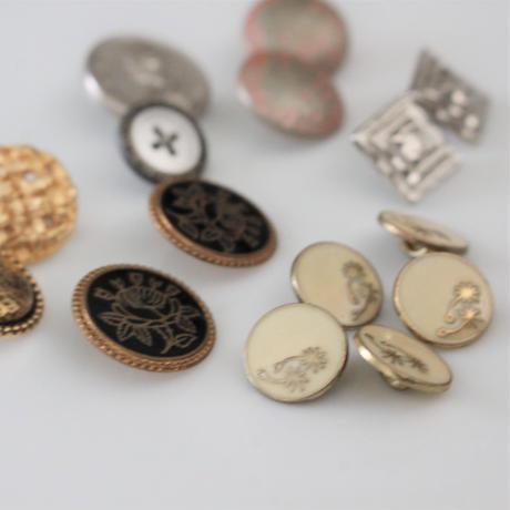 【ボタンセット】france vintage シルバーピンク金属ボタン2個セット  18㎜