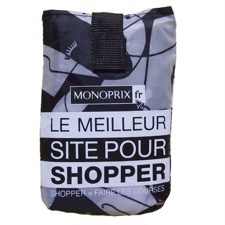 <再入荷>パリのスーパーMONOPRIX エコバッグ モノトーン横顔