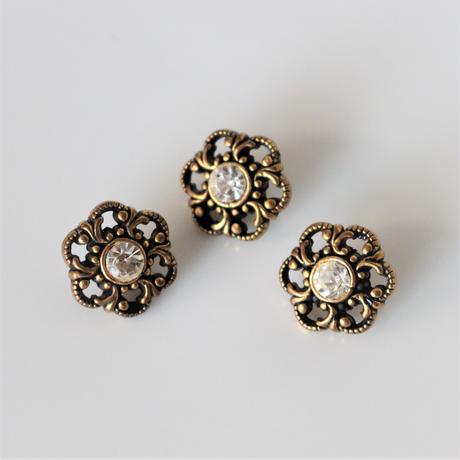 【ボタンセット】france vintage  アンティークカラーの花型ボタン3個セット