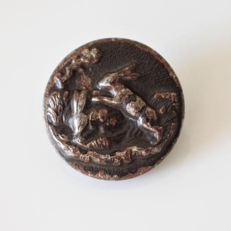 【動物ボタン】  fh-3  兎のメタルボタン 25㎜ フランス