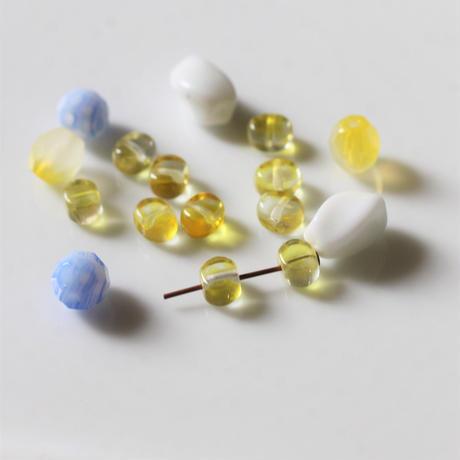 【ビーズセット】チェコガラスビーズ10個(レモン) ヴィンテージ425