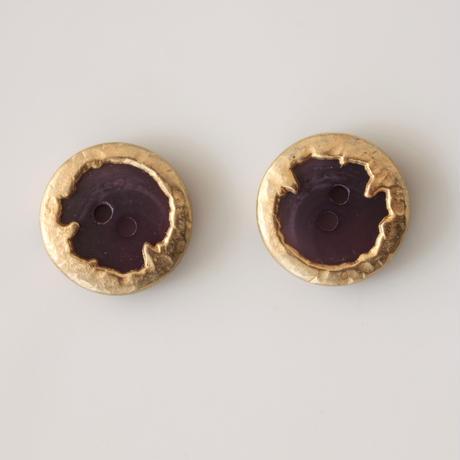 【ボタンセット】france vintage  メタル縁パープルボタン2個セット 18 ㎜ 133