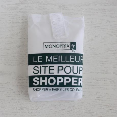 パリのスーパーMONOPRIX エコバッグ 白×深グリーン
