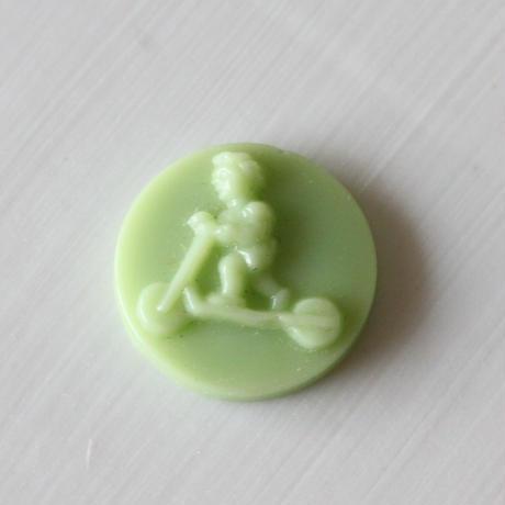 グラスカメオ  1.4㎝(green)フランス1950年代ヴィンテージ
