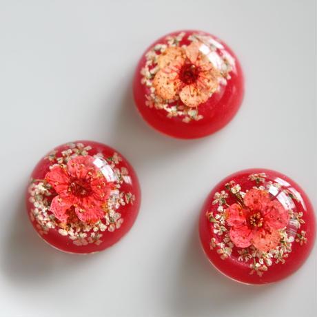フランス現代カボション1.8㎝ red×pinkアクリルフラワーパーツ