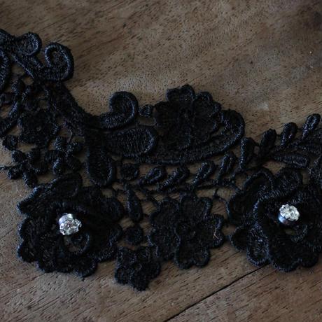 フランスヴィンテージ黒いレースパーツ 23㎝ 幅7cm ラインストーン付き