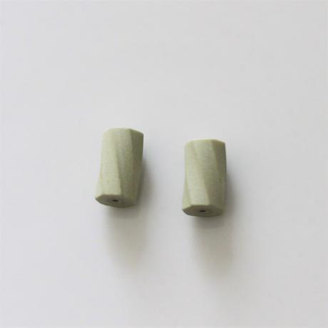 【ビーズセット】70年代チェコ 円柱スクリュービーズ2個(green)12㎜  436