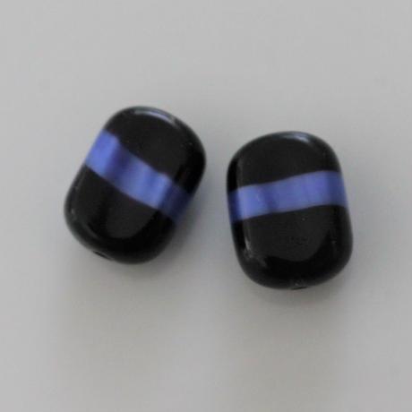 角丸四角柱型ガラスビーズ2個 16㎜ チェコヴィンテージ466