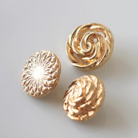 【ボタンセット】france vintage  ゴールドボタン3個セット 127