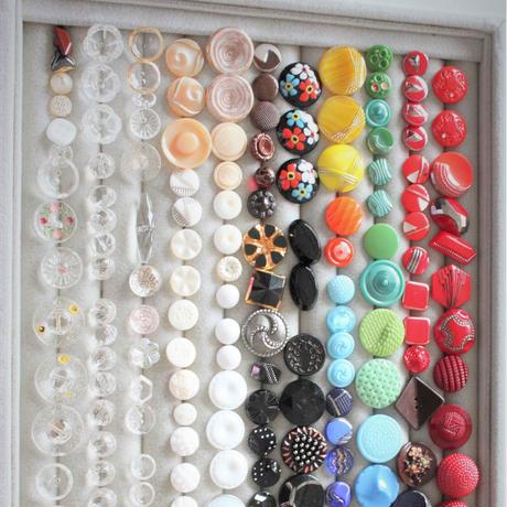 【ボタンセット】ガラスボタン2個セット フランスヴィンテージ