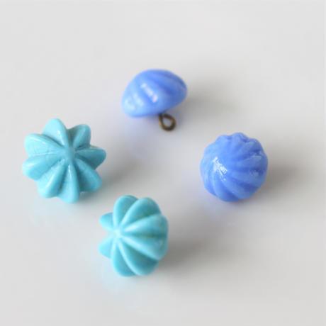 【ボタンセット】水色の花ガラスボタン2個セット フランスヴィンテージ
