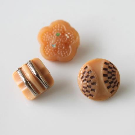 【ボタンセット】小さなベージュのガラスボタン3個セット フランスヴィンテージ