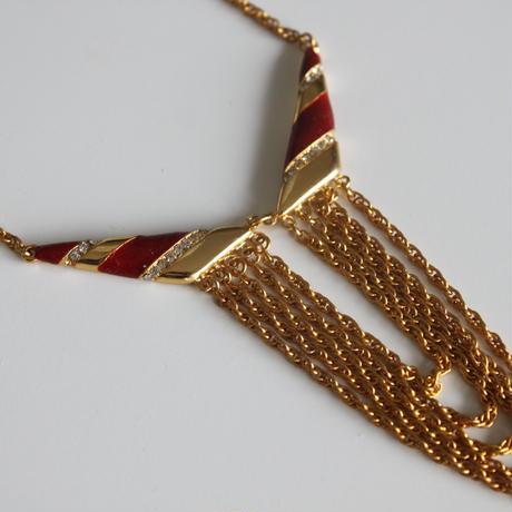 ORENA<オレナ>赤ライン5連ネックレス フランス製_OR04